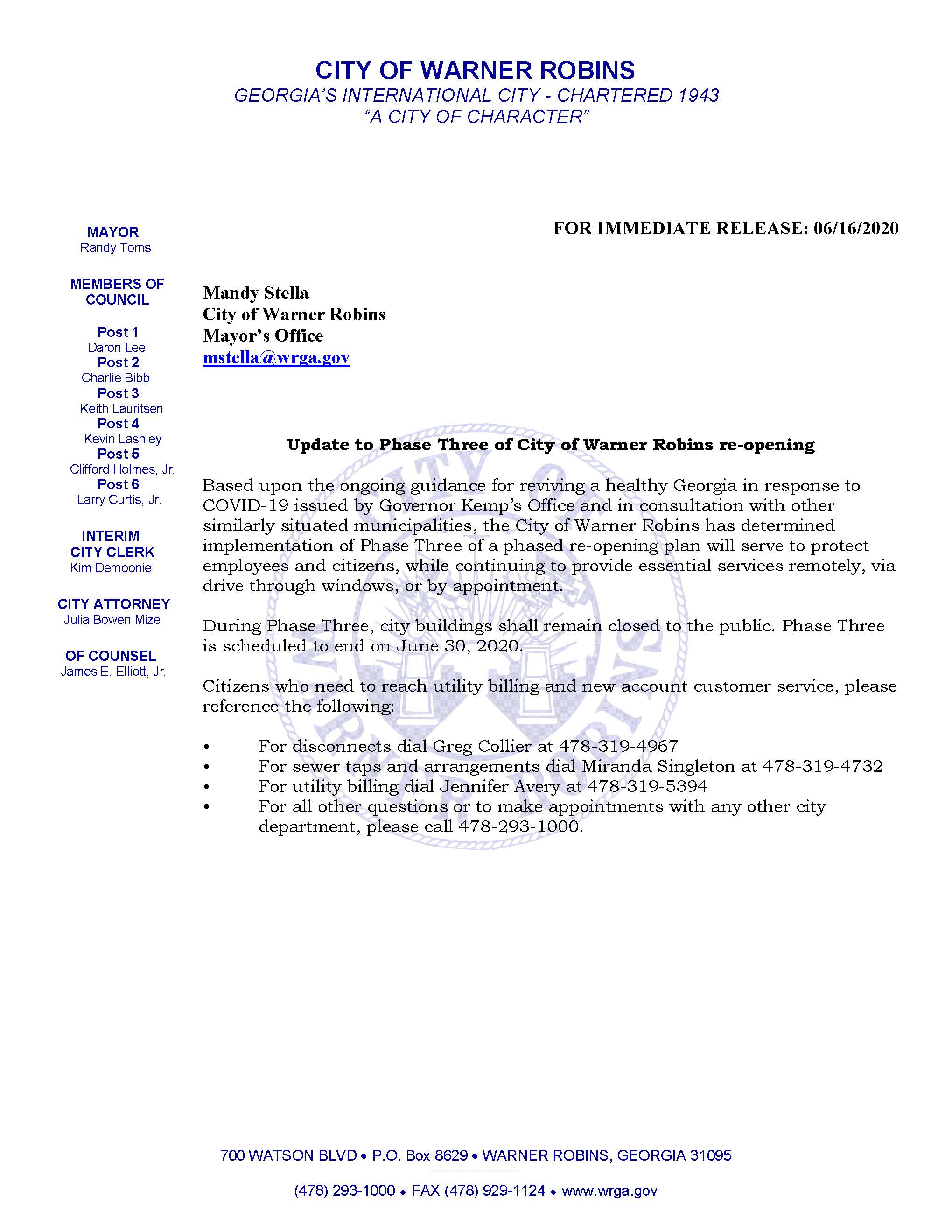 Update to Phase Three of City of Warner Robins re-opening