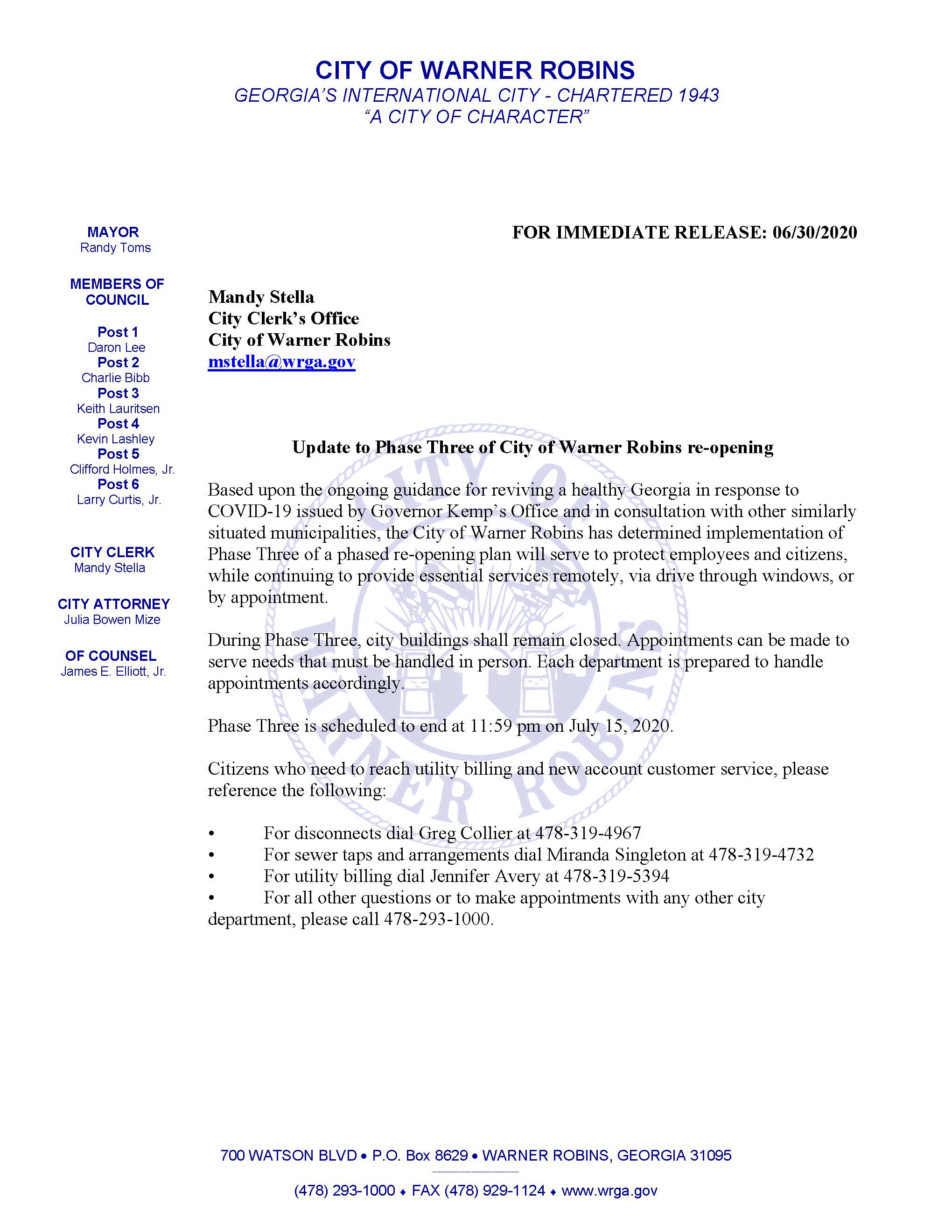 06302020 Update to Phase Three of City of Warner Robins reopening