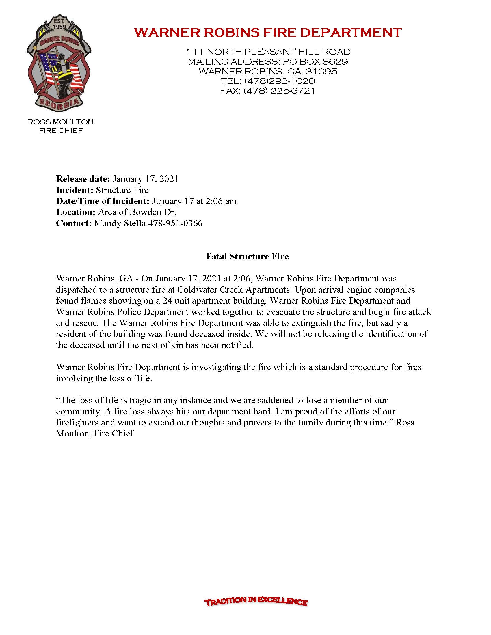 Structure Fire Fatality 01.17.2021